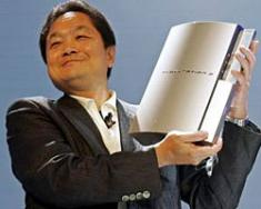 Happy Sony Exec with Playstation 3 Console