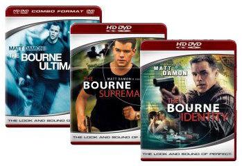 The Bourne Identity, The Bourne Supremacy, The Bourne Ultimatum [HD DVD Box Art]