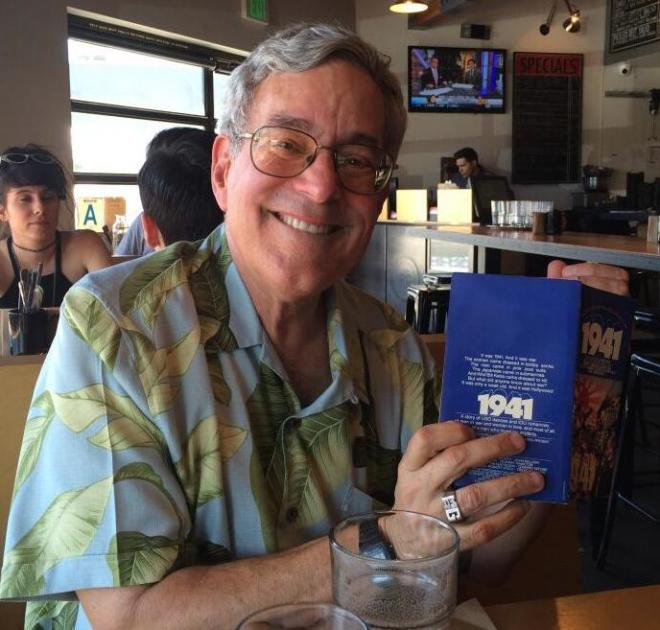 Bob Gale with a copy of the '1941' novelization