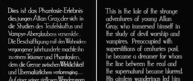 Vampyr - German vs English Intertitle Text Comparison